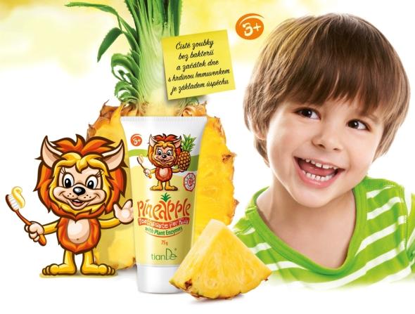"""Dětská zubní pasta """"Ananas"""" s rostlinnými enzymy (video)"""