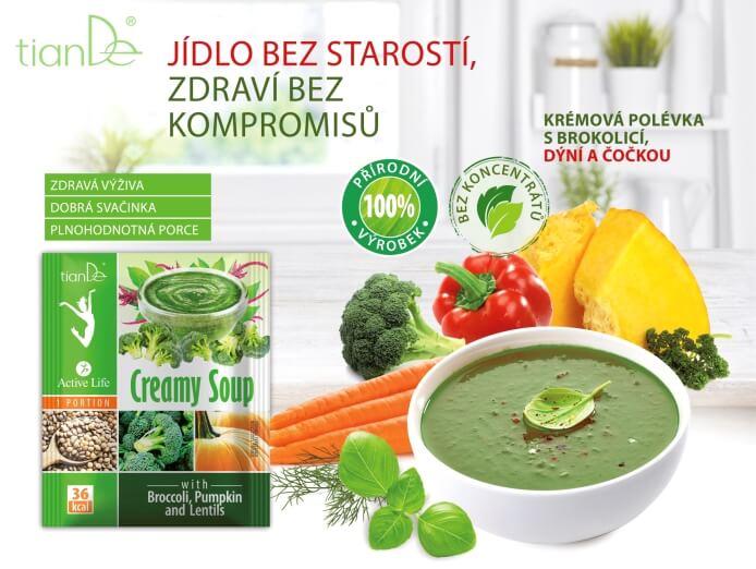Krémová polévka s brokolicí, dýní a čočkou (Prezentace)