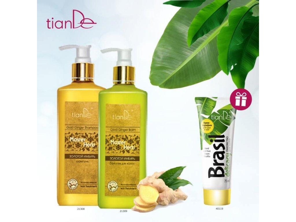 AKCE Šampon na vlasy Zlatý zázvor + Balzám na vlasy Zlatý zázvor, získáte jako DÁREK Parafínový krém na ruce a nohy Brazilská pochoutka  Body: 20,6