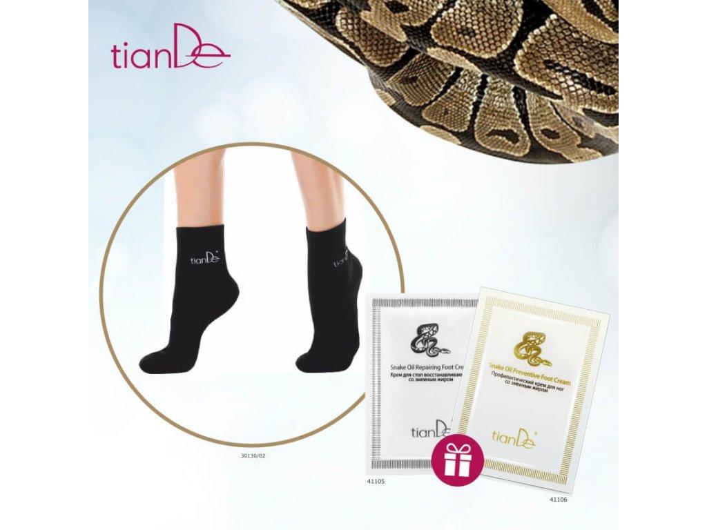 AKCE Ponožky s bodovou turmalínovou vrstvou 1 pár vel. 22 cm + DÁREK Regenerační krém na nohy s hadím olejem + Preventivní krém na nohy s hadím olejem  Body: 7,7