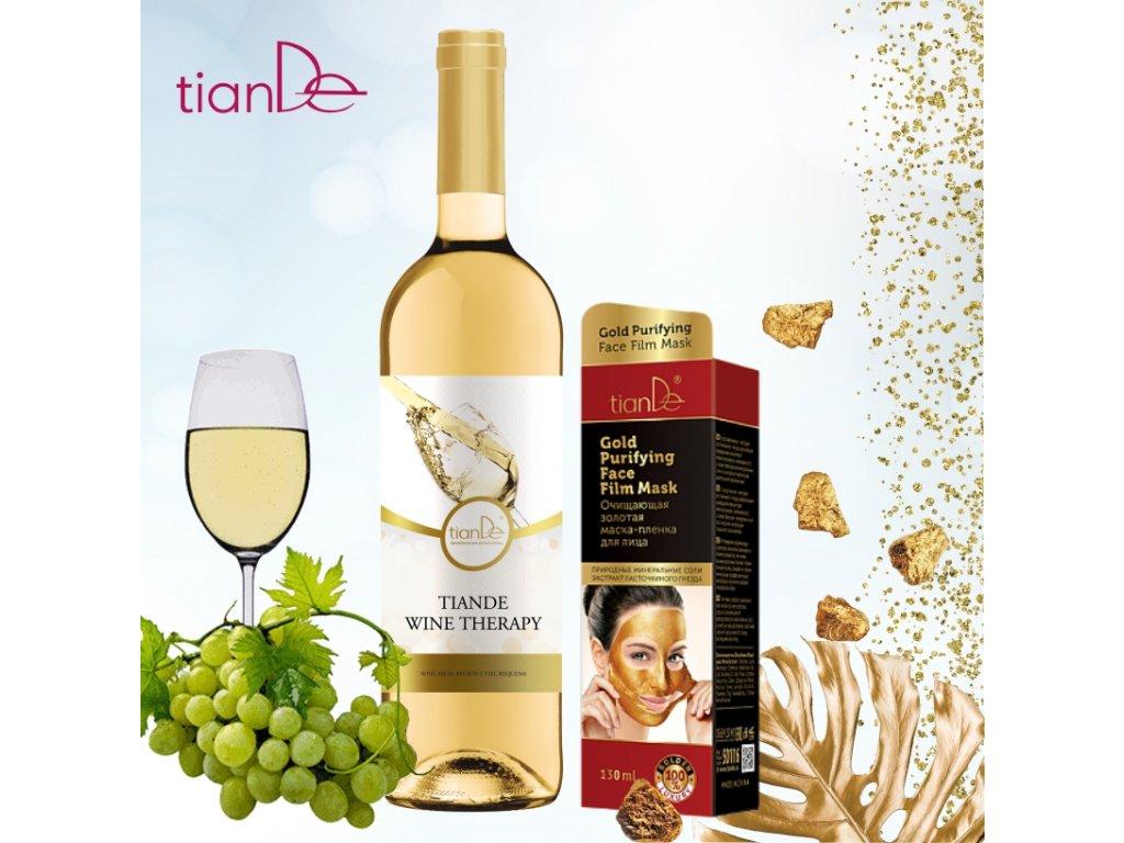 TianDe víno + zlatá pleťová maska