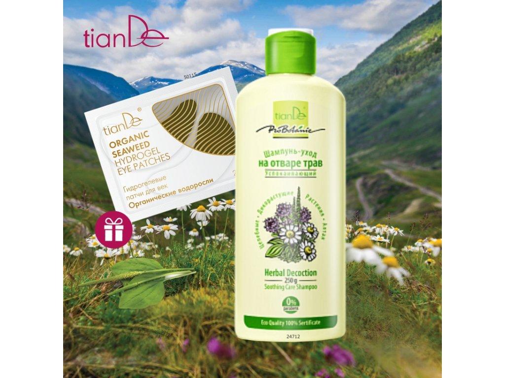 AKCE Zklidňující pečující šampon z bylinného odvaru + DÁREK Hydrogelové polštářky pro oční víčka Organické řasy 2ks