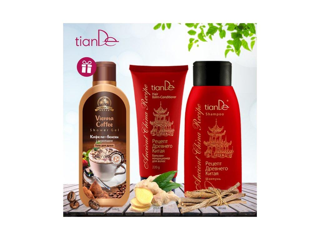 AKCE Šampon Recept starověké Číny + Vlasový balzám - kondicionér Recept starověké Číny + DÁREK Sprchový gel Vídeňská káva  Body: 13,0