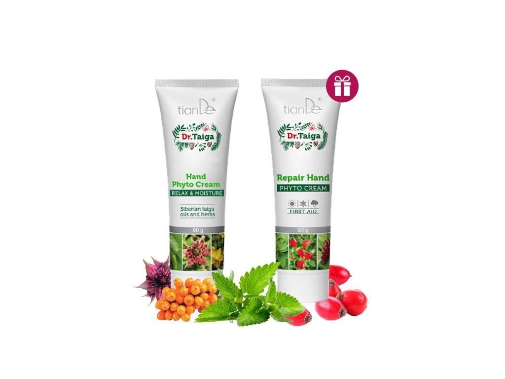 AKCE Fytokrém na nohy Deo-kontrola Dr. Taiga + Fytokrém na ruce Relaxace a hydratace Dr. Taiga + DÁREK Tělová sůl Grapefruit  Body: 6,4