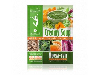 Krémová polévka s brokolicí, dýní a čočkou 25 g  Body: 1,1