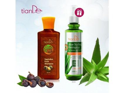 AKCE Šampon Mýdlový oříšek čistě přírodní + DÁREK Stylingový sprej na vlasy s Aloe Objem a pružnost  Body: 16,0
