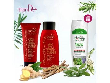 AKCE Šampon Recept starověké Číny + Vlasový balzám - kondicionér Recept starověké Číny + DÁREK Bylinný sprchový gel pro citlivou pokožku Dr. Taiga  Body: 13,0