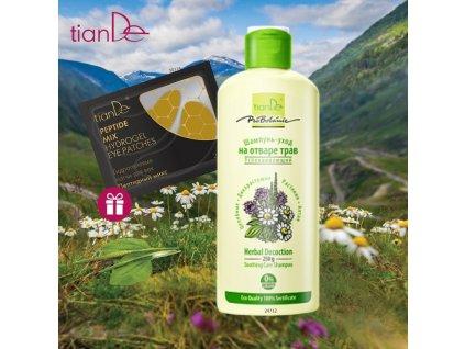 AKCE Zklidňující pečující šampon z bylinného odvaru + DÁREK Hydrogelové polštářky na oční víčka Mix peptidů