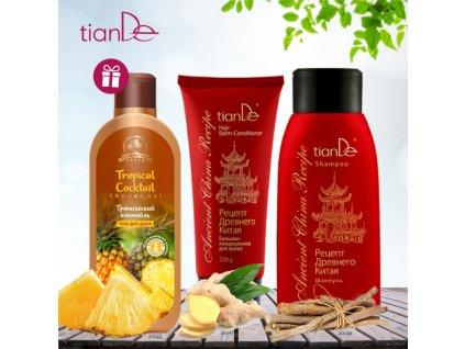AKCE Šampon Recept starověké Číny + Vlasový balzám - kondicionér Recept starověké Číny + DÁREK Sprchový gel Tropický koktejl  Body: 13,0