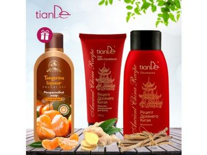 AKCE Šampon Recept starověké Číny + Vlasový balzám - kondicionér Recept starověké Číny + DÁREK Sprchový gel Mandarinkový likér
