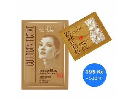 DÁREK Křišťálová kolagenová maska na oční víčka + Korigující maska na obličej Intenzivní lifting Collagen Active