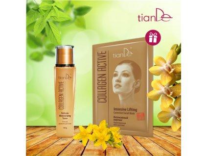 AKCE Jemné hydratující tonikum Collagen Active + DÁREK Korigující maska na obličej Intenzivní lifting Collagen Active  Body: 10,0