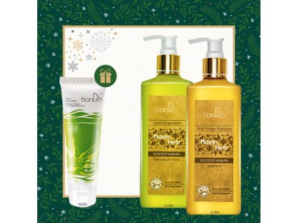 AKCE Šampon na vlasy Zlatý zázvor + Balzám na vlasy Zlatý zázvor + DÁREK Slupovací maska na obličej Aloe