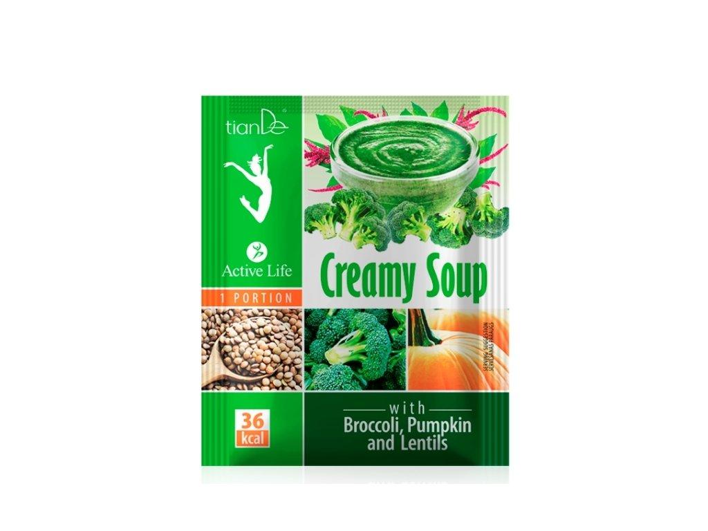 Krémová polévka s brokolicí dýní a čočkou