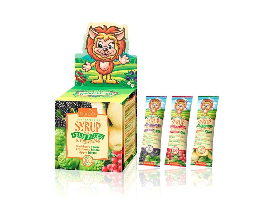 Sirupy s ovocnými šťávami a zdroji Doplněk stravy s cukrem