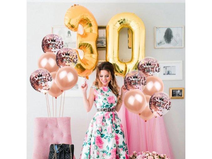 10 Ks mix balónikov na narodeniny- 18, 30, 40, 50 rokov (Farba Růžová, Varianta 18)