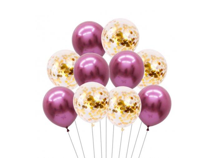 16269 10 ks mix balonikov s konfetami ruzovobiele na party narodeniny