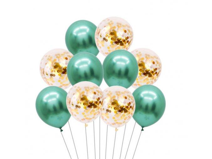 16263 10 ks mix balonikov s konfetami zelenobiele na party narodeniny