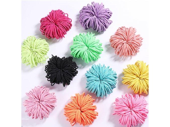 100 ks gumičiek gumičky do vlasov pre vlasy bezva vlasy (Farba Červená)