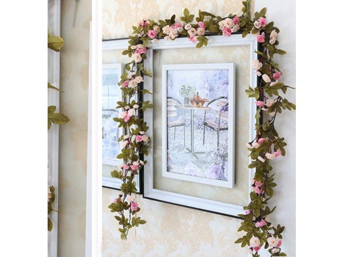 230 cm dlouhá květinová výzdoba dekorace z umělých květin (Barva Růžová)