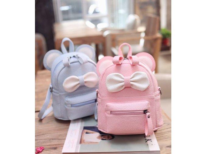 Batoh- luxusní mini batůžek s mašličkou pro ženy dívky růžový, modrý, černý- Vhodný jako dárek k Vánocům (Barva Růžová)