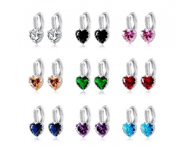 Blýskavé náušnice se zirkonevm ve tvaru srdce šperky na ples (Barva: zelená)