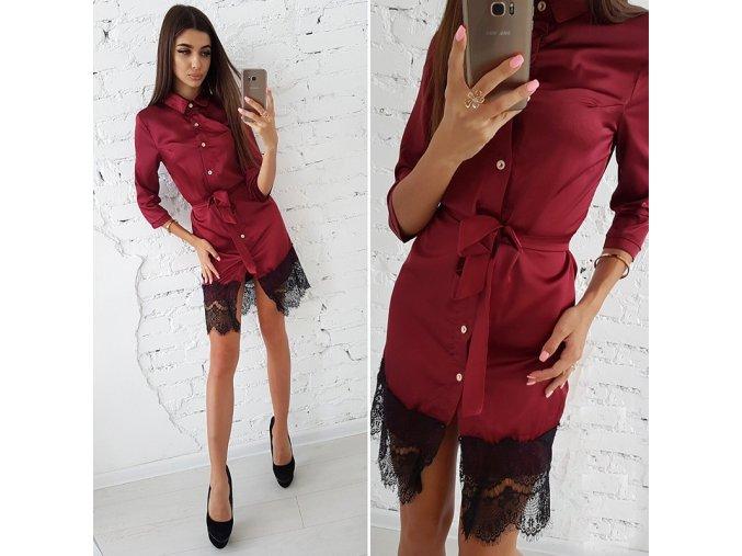 Červené letní šaty s krajkou a vázáním v pase NEW až 2XL (Vel XXL)