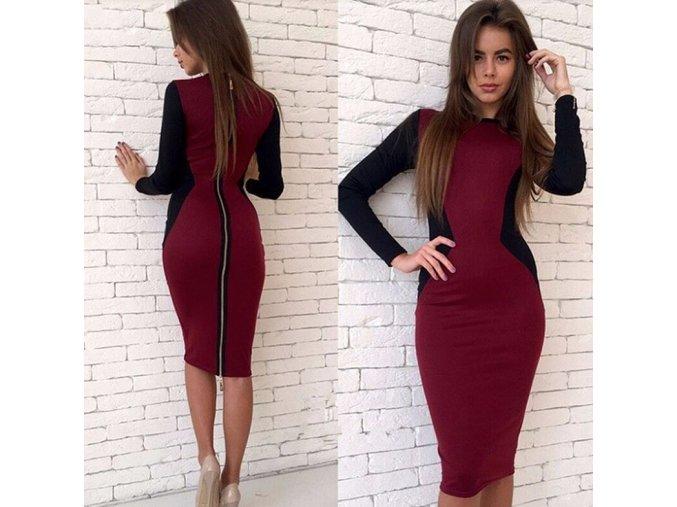 Dámské dlouhé slim šaty s originálním zipem na zádech červené (Velikost XXL)