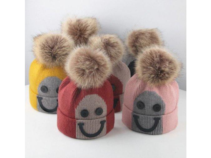Čepice- vtipné zimní čepice s bambulí více barev- VÝPRODEJ SKLADU (Varianta: 6)