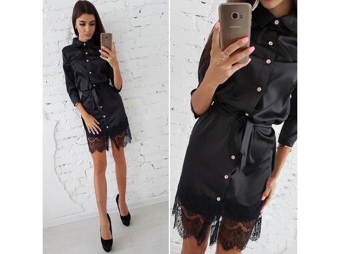 Černé letní šaty s krajkou a vázáním v pase NEW až 2XL AKCE (Vel XXL)