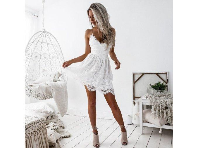 Luxusní bílé letní šaty s ramínky (Velikost XL)