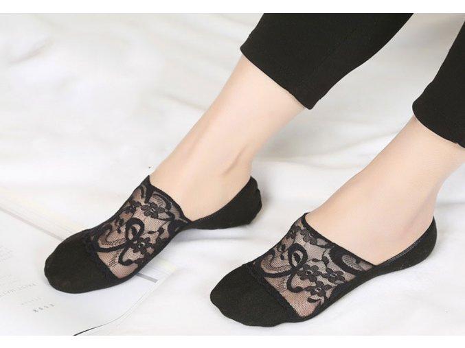 Čipkované nízke ponožky viac farieb (Farba Béžová)