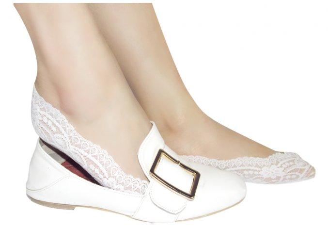 Čipkované ponožky do balerín- tri farby (Farba Béžová)