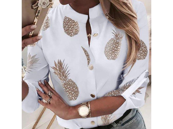 Dámska biela košeľa blúzka Ananás až 2XL (Velikost L)