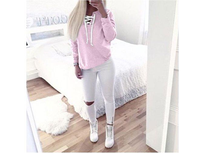 Dámská fashion růžová mikina se šněrováním (Velikost XL)
