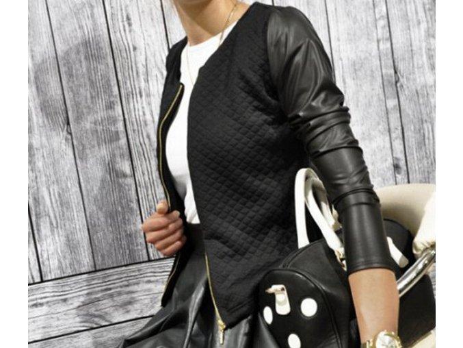 Dámský jarní exkluzivní stylový kabátek černý (Velikost XXL)