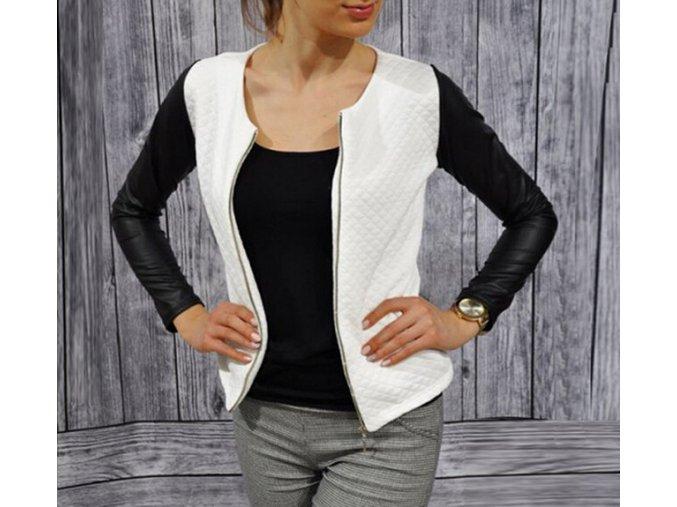 Dámský exkluzivní stylový kabátek bílý + POŠTOVNÉ ZDARMA (Velikost XXL)