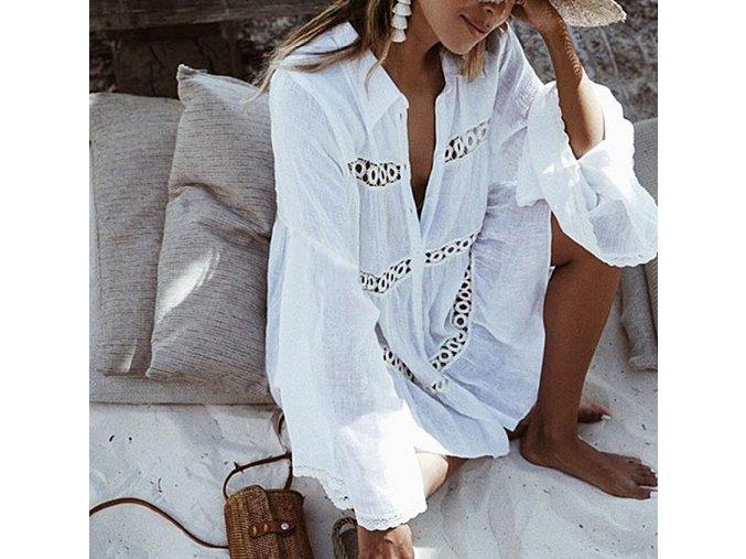 Dámská letná biela plážová tunika cez plavky (Farba Biela)