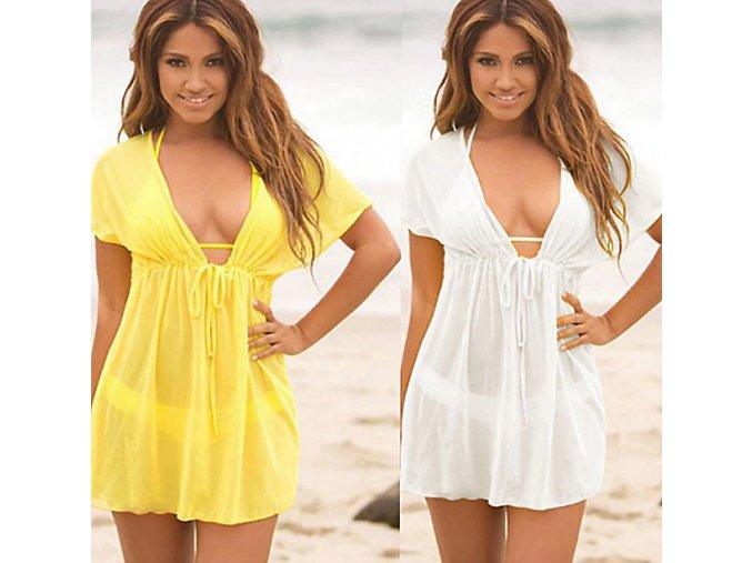 Dámská letná plážová tunika cez plavky- žltá, biela (Farba Biela)