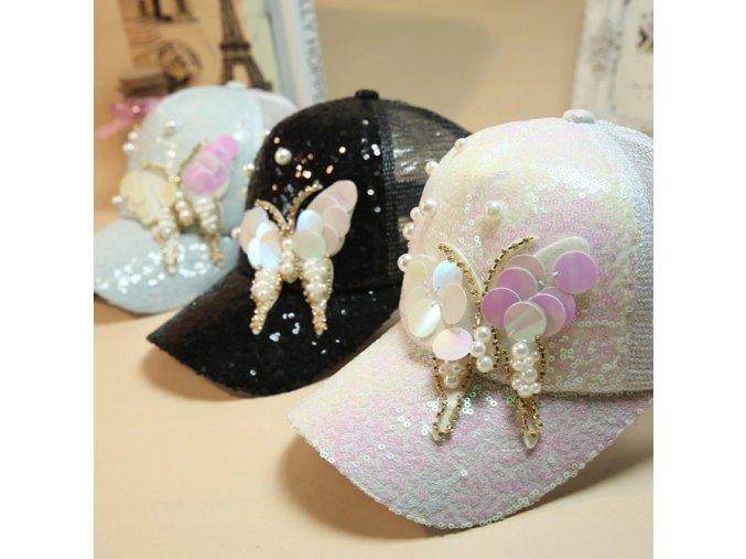 Dámska luxusná šiltovka s glitrami a perlami- ružová, čierna (Farba Čierna)