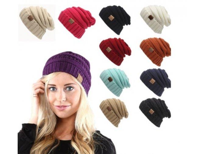 Dámská zimní čepice - různé barvy - SLEVA 70% (Barva Šedá)