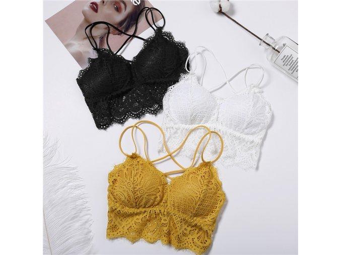 Dámska spodná bielizeň erotické prádlo erotické spodné prádlo luxusnú bielizeň sexy prádlo podprsenky - čipkovaná braletka 3 farby (Farba Biela)