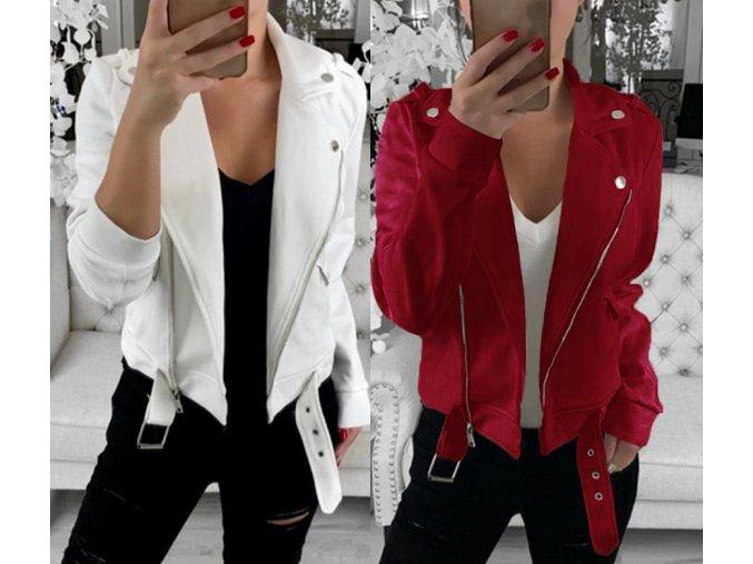 Dámska štýlová jesenná bunda viac farieb až 3XL (Farba Biela, Velikost S)