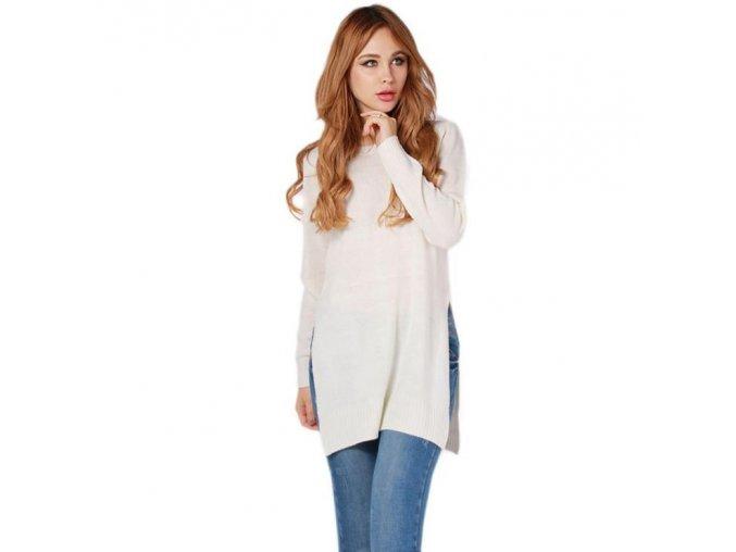 Dámský podzimní dlouhý bílý svetr + POŠTOVNÉ ZDARMA (Velikost XL)