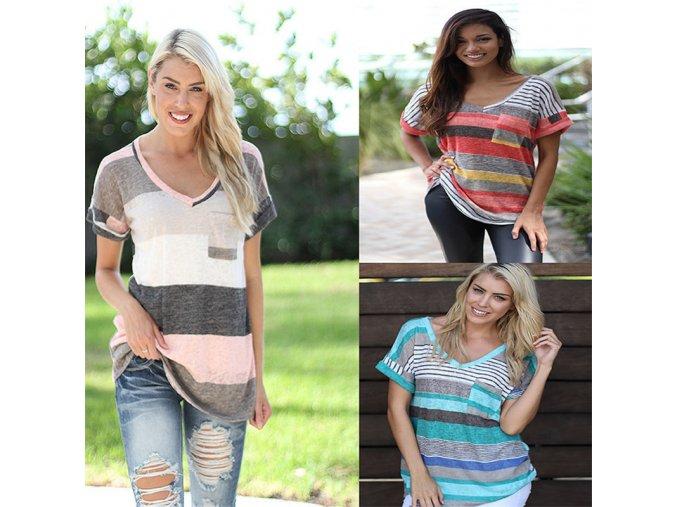 Dámské tričko - různé barvy - SLEVA 30% (Barva Modrá, Velikost S)