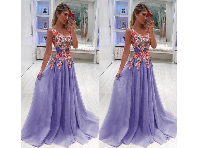Dámské plesové společenské večerní šaty fialové do tanečních a na svatbu až 4XL (Vel XXL)