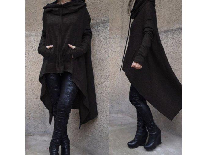 Dámský podzimní asymetrický přehoz s kapucí černý (Velikost XXL)
