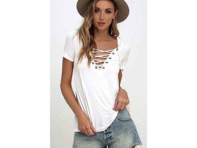 Dámské volnější fashion tričko se šněrováním bílé + DOPRAVA ZDARMA (Velikost XXXL)