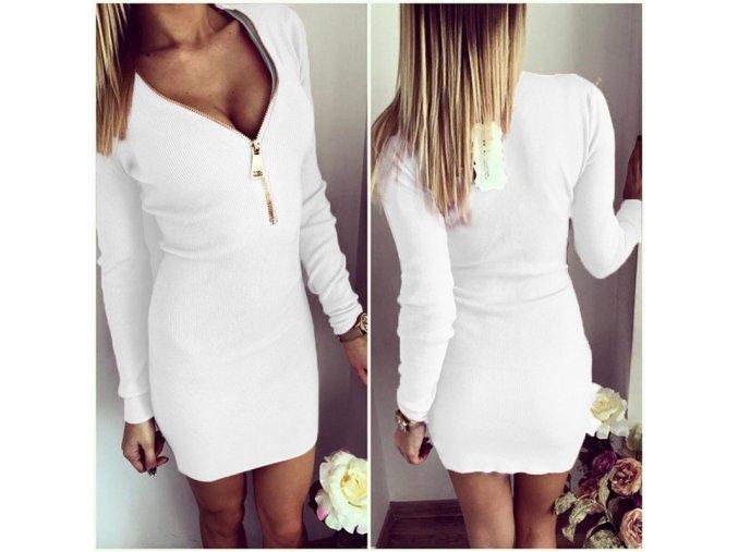 Luxusní dámské elastické šaty bílé (Velikost XL)