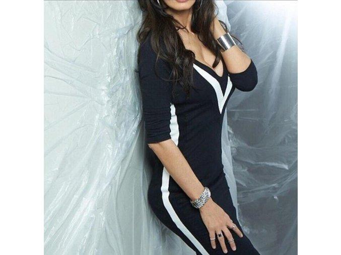 Černé zimní dlouhé TOP fashion šaty s dlouhým rukávem (Velikost XL)